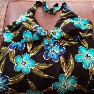Tankini top only, tropical blue floral